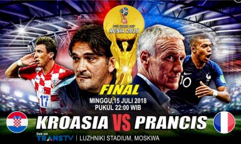 Kroasia versus Prancis Piala Dunai 2018. (Tribun Lampung)